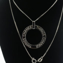 """Things Change"" Personalized Circle Pendant Necklace"