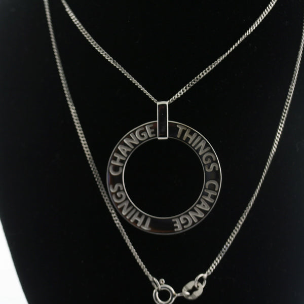 """Things Change"" Personalized Circle Pendant Necklace - Thenetjeweler"