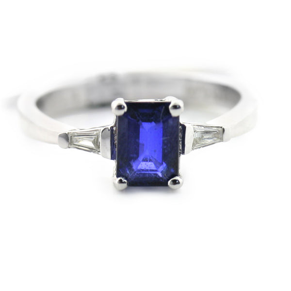 Emerald Cut Blue Sapphire and Diamond Ring - Thenetjeweler