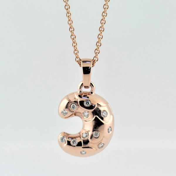 Croissant Pendant Rose Gold with Diamonds - Thenetjeweler