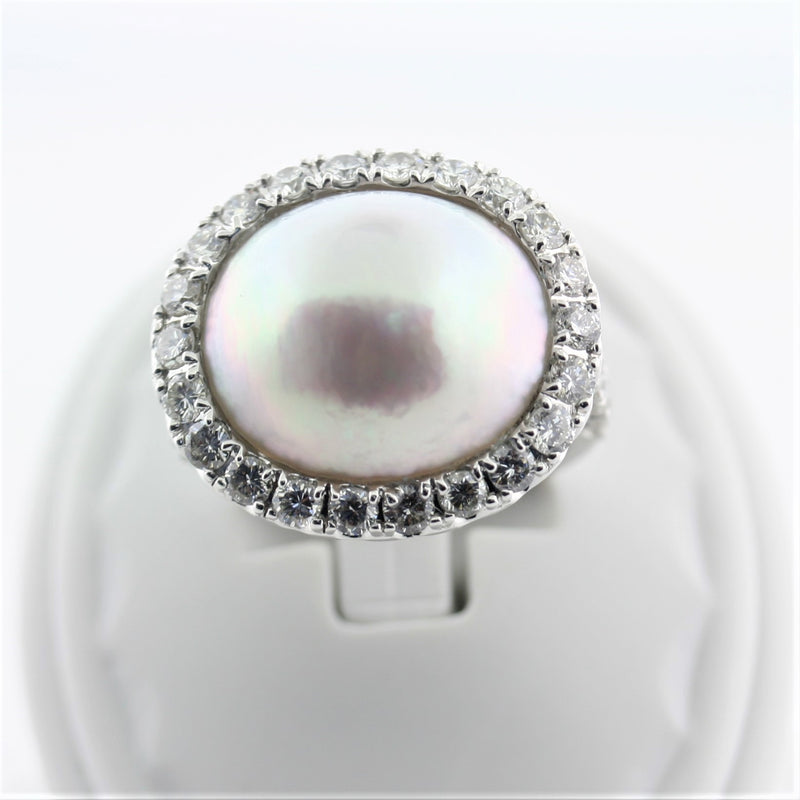 Mabe Pearl Ring with Diamonds 18K White Gold - Thenetjeweler