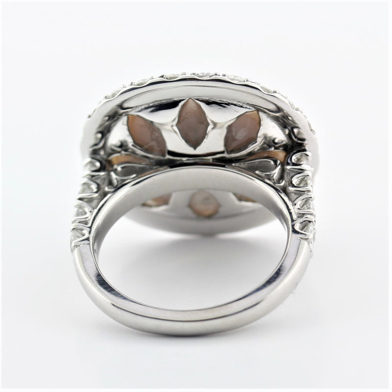 Mabe Pearl Ring with Diamonds