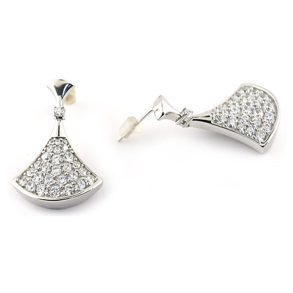 CZ Silver Drop Earrings - Thenetjeweler