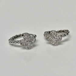 Ring Earrings Set in Sterling Silver with Cubic Zirconia - Thenetjeweler
