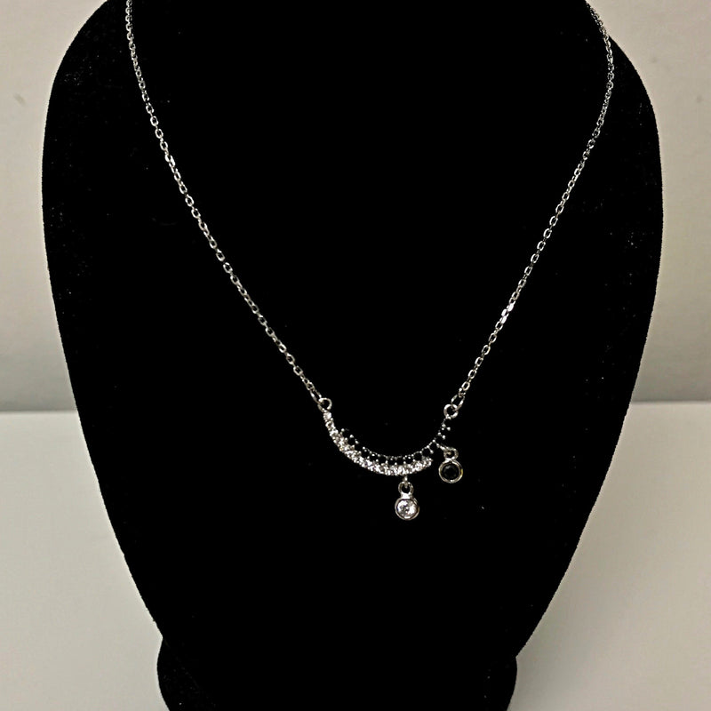 Sterling Silver Cubic Zirconia Black and White Pendant Necklace - Thenetjeweler