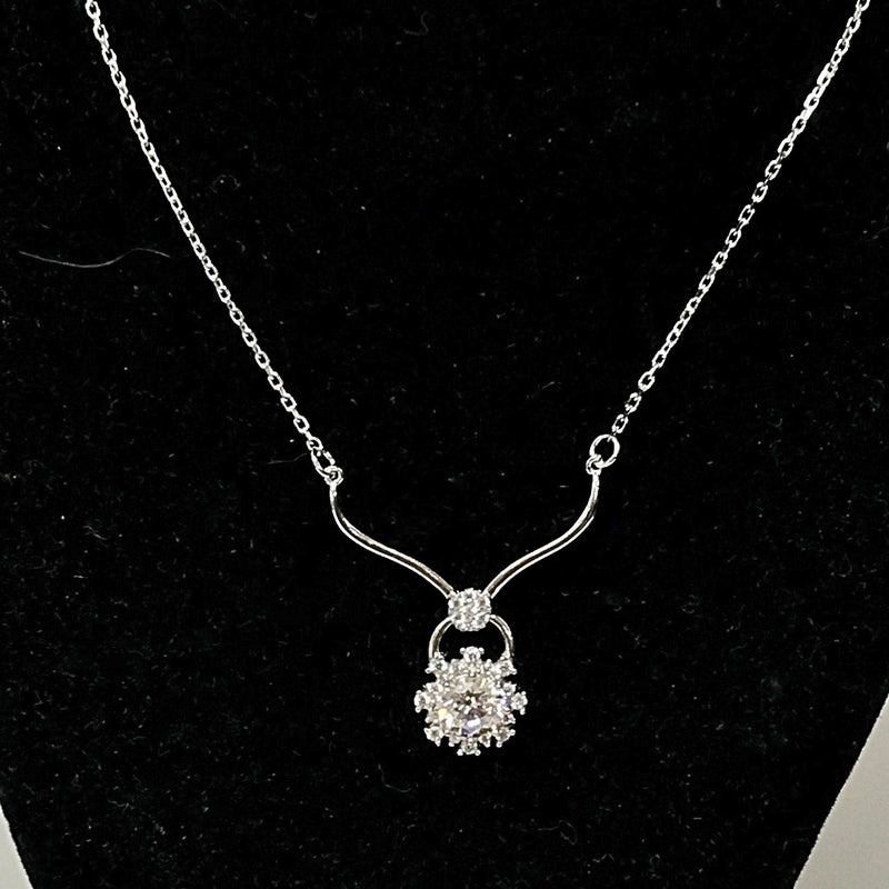 Sterling Silver Cubic Zirconia Flower Pendant Necklace - Thenetjeweler
