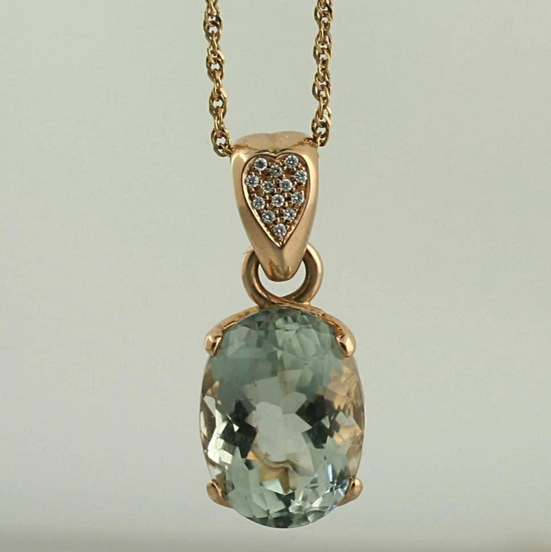 Prasiolite Oval and Diamond Pendant Necklace 14K Pink Gold - Thenetjeweler
