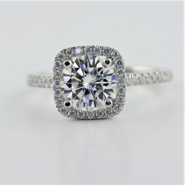 Square Halo Round Moissanite Engagement Ring - Thenetjeweler