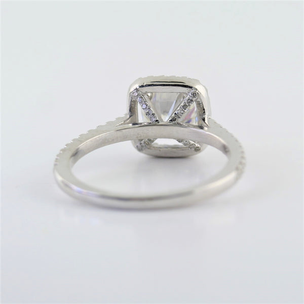 Cushion Cut Halo Moissanite Engagement Ring - Thenetjeweler