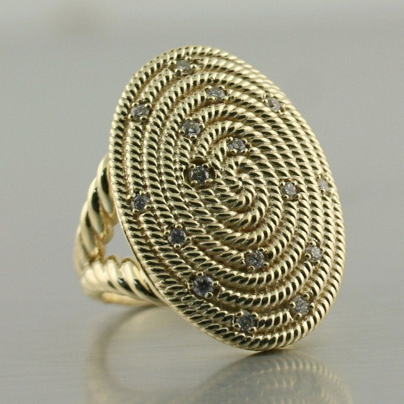 Diamond Ring Cable coil Design 14K Yellow Gold - Thenetjeweler
