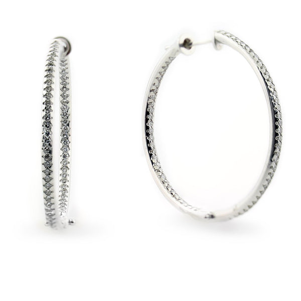 Diamond In and Out Hoop Earrings 0.75 ct.t.w. - Thenetjeweler
