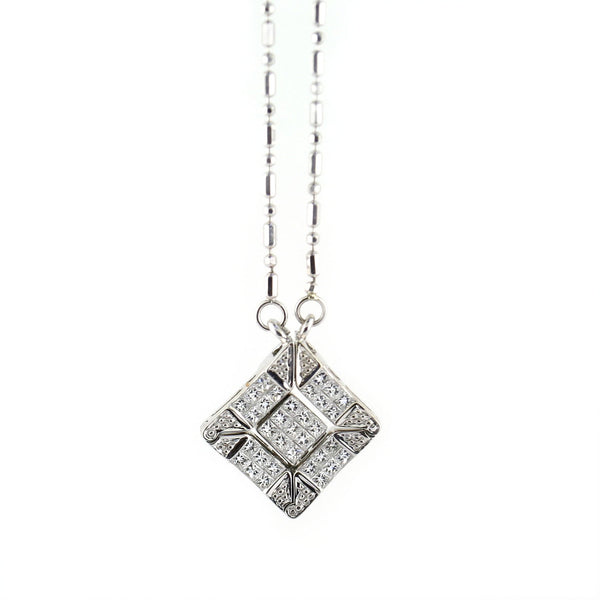 Convertible Pendant Necklace  Magnetic 14k White Gold - Thenetjeweler