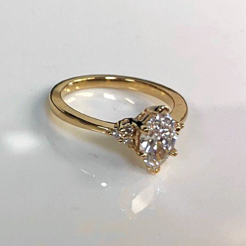 Marquise Engagement Ring with Side Stones 18K Yellow Gold - Thenetjeweler