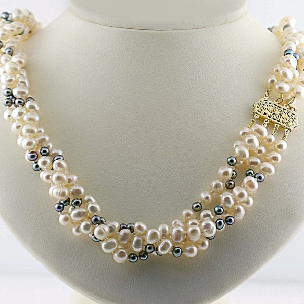 Multi Strand Freshwater Pearl Necklace 14K Gold Clasp - Thenetjeweler by Importex
