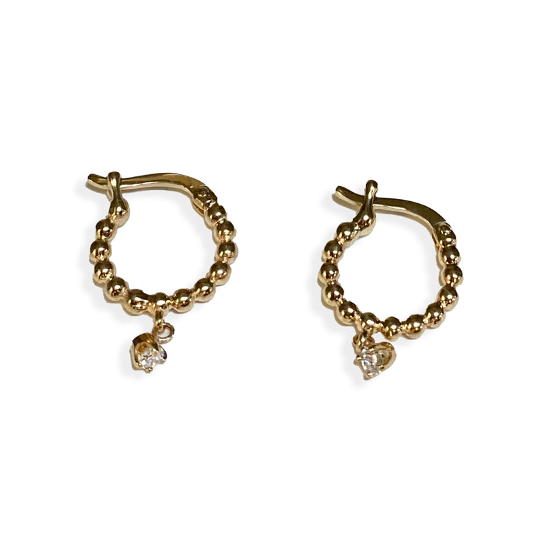 14K Gold Diamond Round Hoop Earrings with Dangling Diamonds