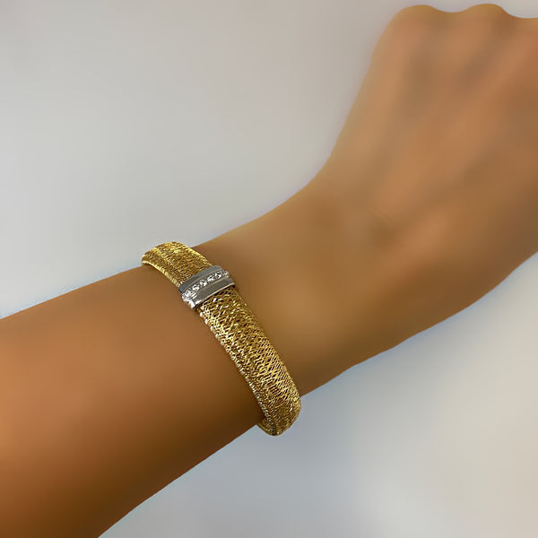 Italian Two-Color Mesh Stretch Bracelet