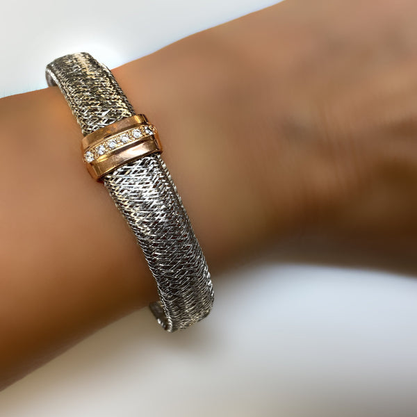 Italian Bracelet Silver Two-Color Mesh | Thenetjeweler