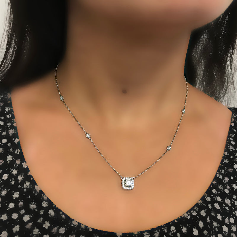 Cushion Halo Diamonds by The Yard Necklace 14K White Gold - Thenetjeweler