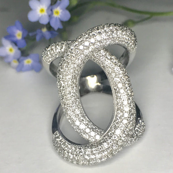 Diamond Crossover Ring White Gold - Thenetjeweler