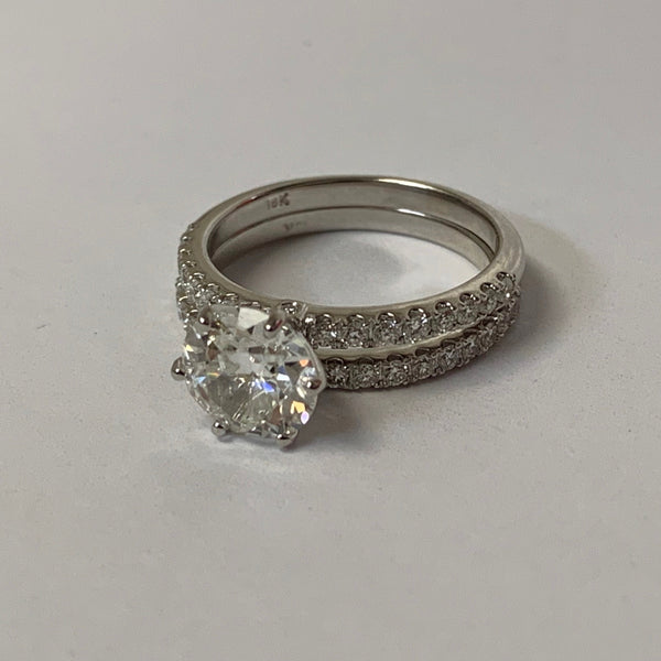 Round Diamond Side Stone Engagement Ring & Eternity Band Set - Thenetjeweler