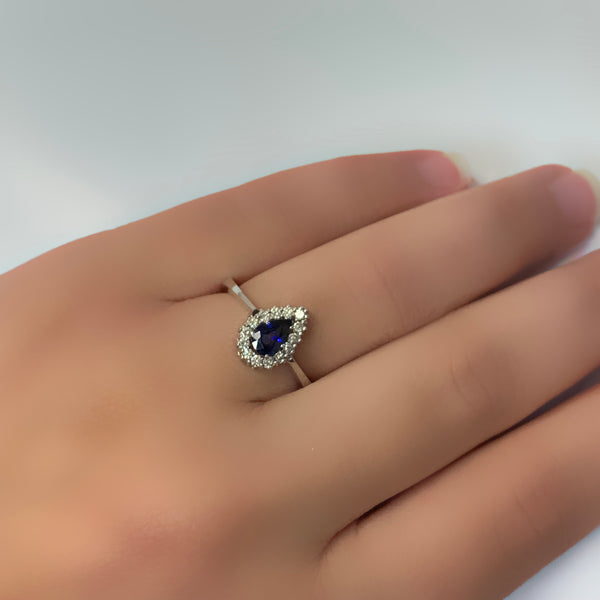 Pear Halo Blue Sapphire and Diamond Ring 18K White Gold