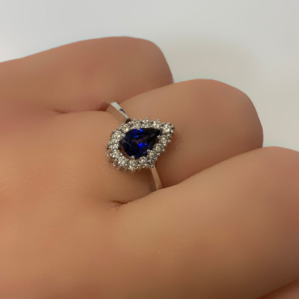Pear Halo Blue Sapphire and Diamond Ring 18K White Gold - Thenetjeweler