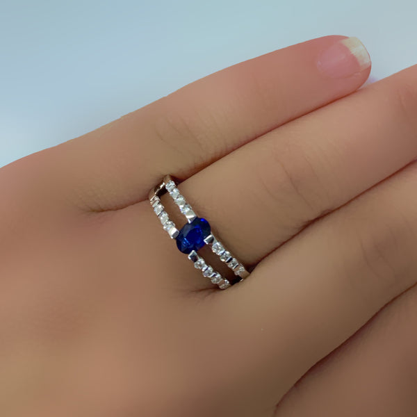 Sapphire Diamond Ring White gold - Thenetjeweler