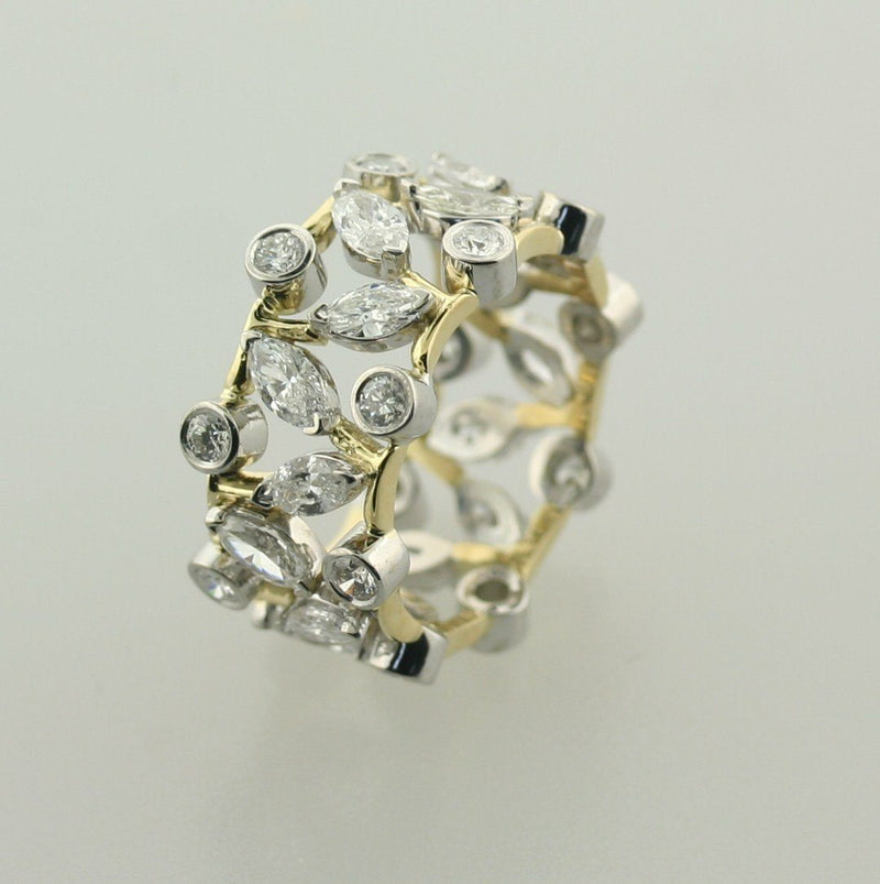 Marquise and Round Diamond Ring Band 14K Two-Tone Gold - Thenetjeweler