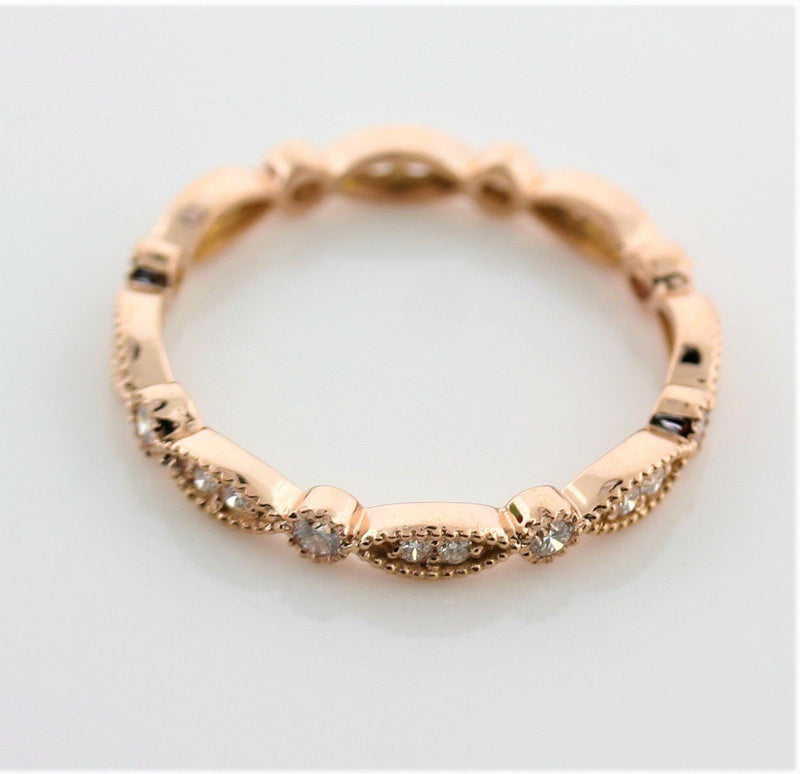 Milgrain Marquise and Dot Diamond Eternity Ring Band 18K Pink Gold - Thenetjeweler by Importex