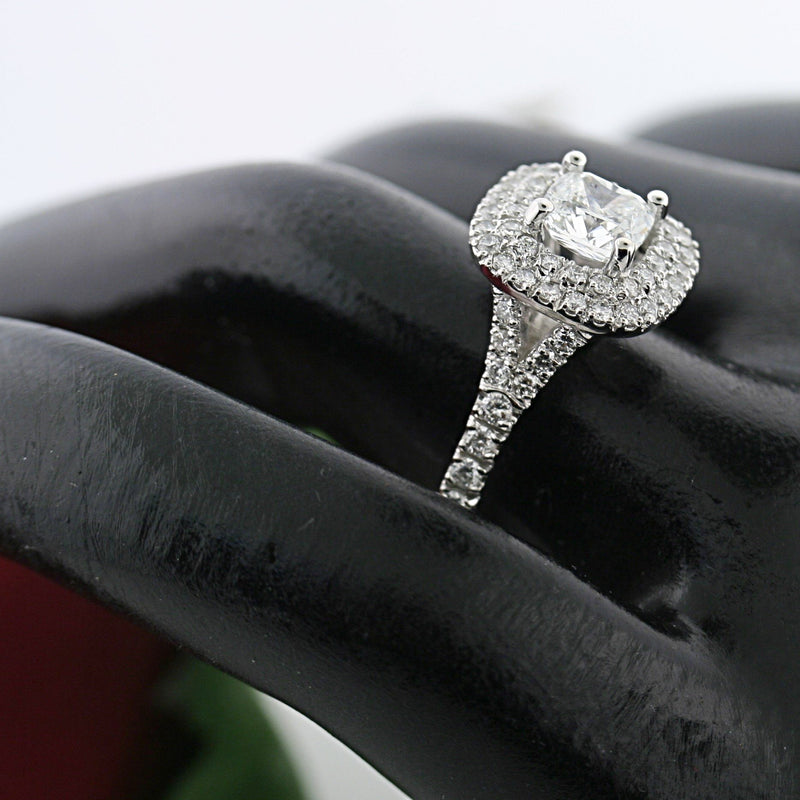 Double Halo 0.90c Round Diamond Engagement Ring 18K White Gold - Thenetjeweler by Importex