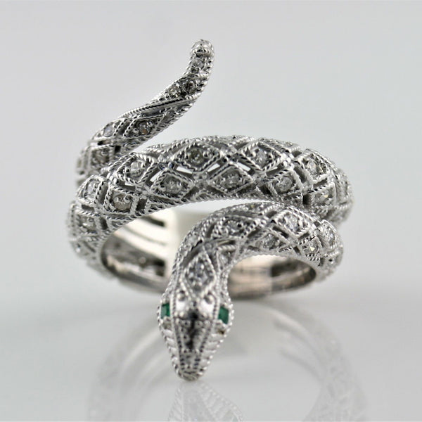 Diamond Emerald Accents Snake Ring 14K White Gold - Thenetjeweler by Importex