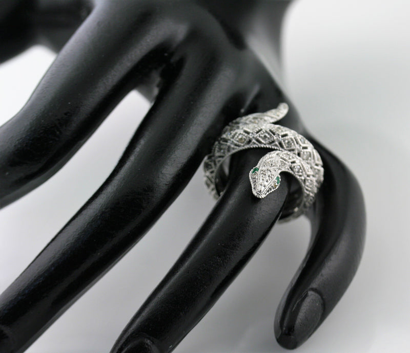 Black Diamond Snake Ring 14K White Gold - Thenetjeweler