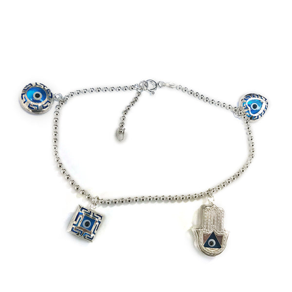 Beads Chain Ankle Bracelet in Sterling Silver with Charms - Thenetjeweler