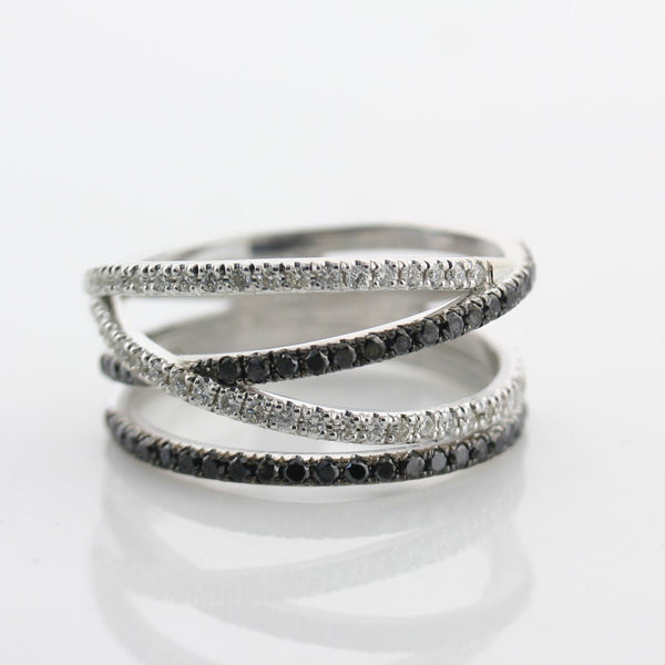 Black and White Diamonds Wide Ring 14K White Gold Crisscross Band - Thenetjeweler by Importex