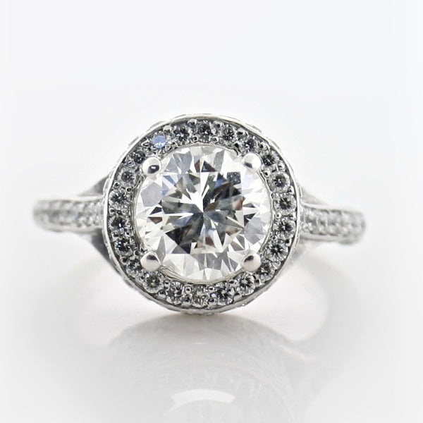 Royal Round Diamond Halo Split Shank Side Stone Engagement Ring - Thenetjeweler