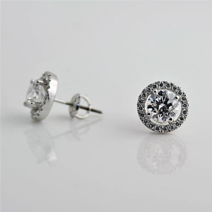Diamond Halo Stud Earrings with Space 18K White Gold - Thenetjeweler