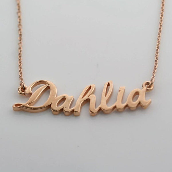Personalized Name Necklace Dahlia 14K Pink Gold - Thenetjeweler by Importex