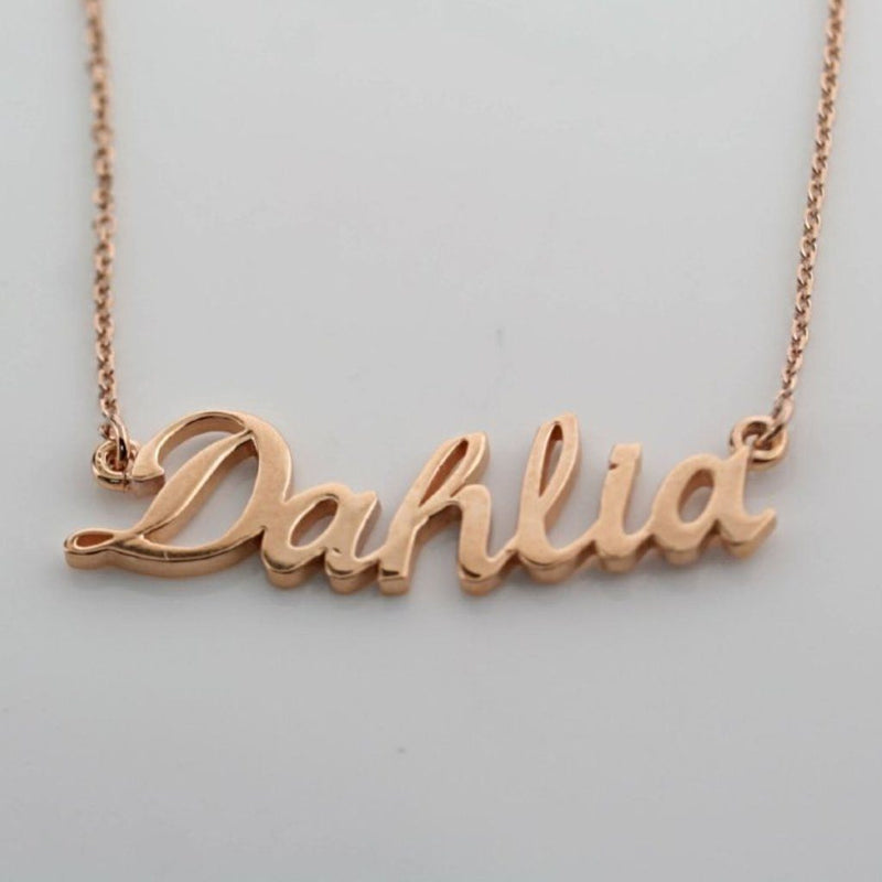 Personalized Name Necklace Dahlia 14K Pink Gold - Thenetjeweler