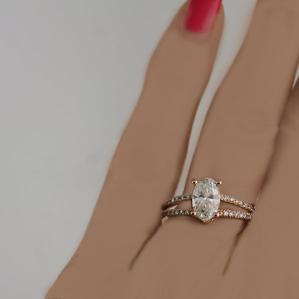 Diamond Oval Split Shank Engagement Ring 18K Pink Gold - Thenetjeweler by Importex