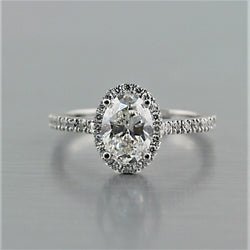 Oval Diamond Halo Engagement Ring 18K White Gold - Thenetjeweler