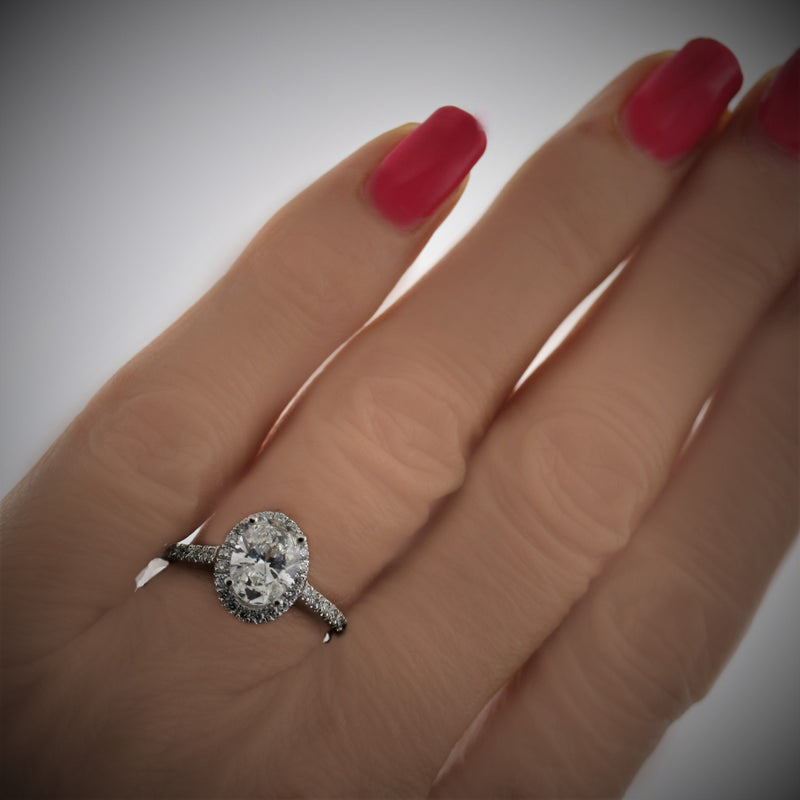 Oval Diamond Halo Engagement Ring 18K White Gold - Thenetjeweler by Importex