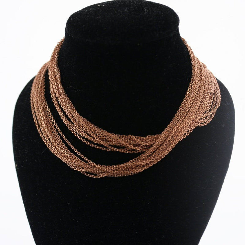 Multi-Chain Necklace Sterling Silver Pink Gold Finish Magnetic Clasp - Thenetjeweler