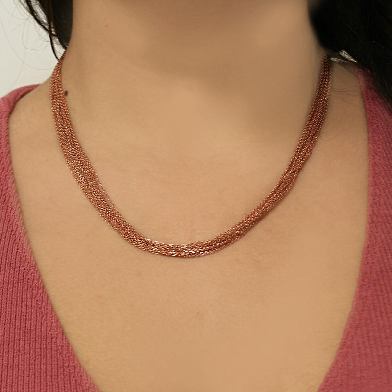 Multi-Chain Necklace Sterling Silver Pink Gold Finish Magnetic Clasp - Thenetjeweler by Importex