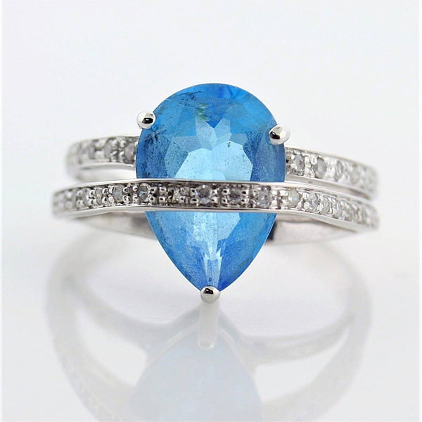 Pear Shaped Blue Topaz Diamond Ring 14K White Gold - Thenetjeweler by Importex