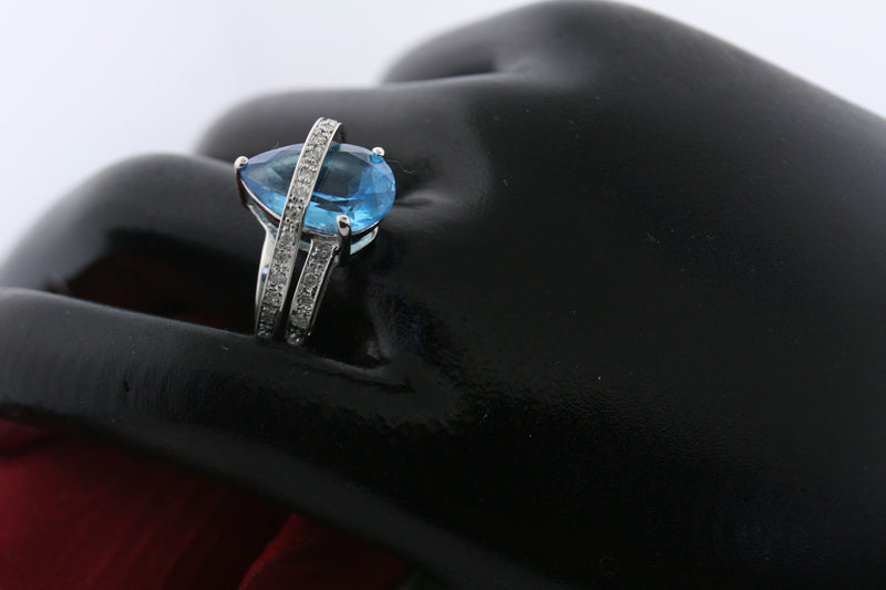 Pear Shaped Blue Topaz Diamond Ring 14K White Gold - Thenetjeweler
