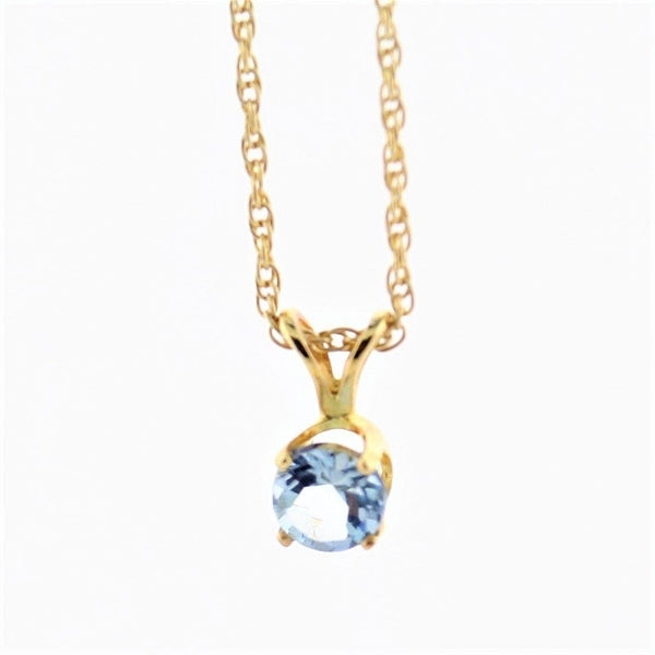 Round Aquamarine Solitaire Pendant Necklace - Thenetjeweler