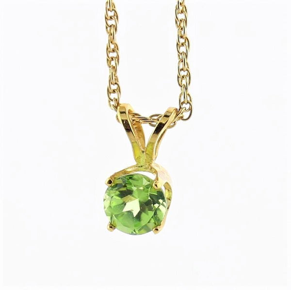 5mm Round Peridot Solitaire Pendant Necklace 14k Yellow Gold August Birthstone - Thenetjeweler