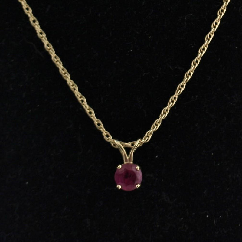5 mm Round Ruby Solitaire Pendant Necklace 14k Yellow Gold July Birthstone - Thenetjeweler