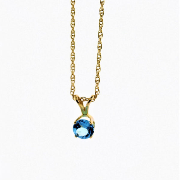 5 mm Round Blue Topaz Solitaire Pendant Necklace 14k Yellow Gold December Birthstone - Thenetjeweler by Importex