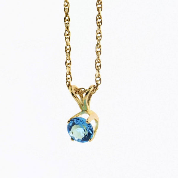 5 mm Round Blue Topaz Solitaire Pendant Necklace 14k Yellow Gold December Birthstone - Thenetjeweler